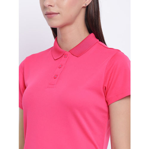 Adidas Women Pink Solid Tennis Polo Collar T-shirt DU0837