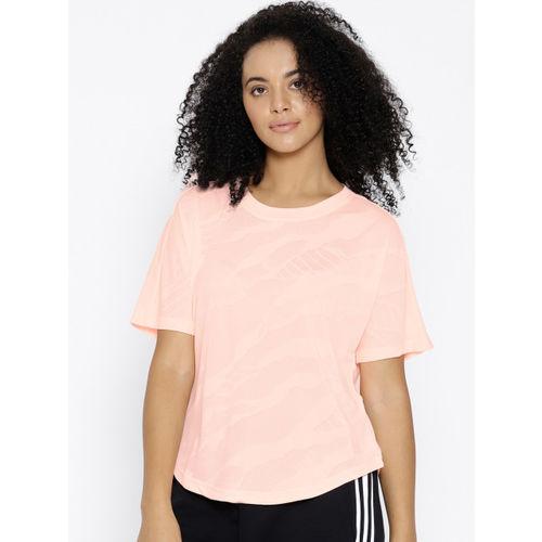 Adidas Women Peach-Coloured Self-Design Aeroknit Training T-shirt