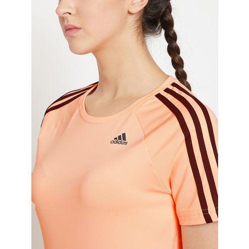 Adidas Women Peach-Coloured Solid M2M 3S T-shirt