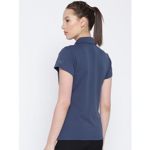 Adidas Women Blue Solid CLIMACHILL Polo T-shirt