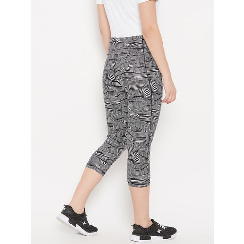 Adidas Women Black & White Printed Ultimate High-Rise AOP 3/4th Training Tights
