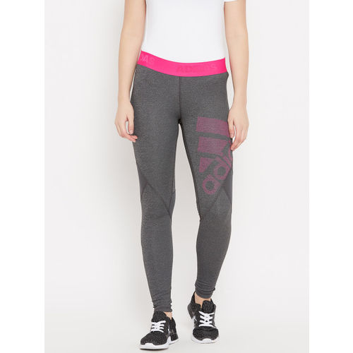 Adidas Women Grey Melange Alphaskin Sport Long Training Tights