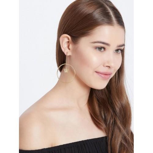 ZeroKaata Gold-Toned Circular Drop Earrings