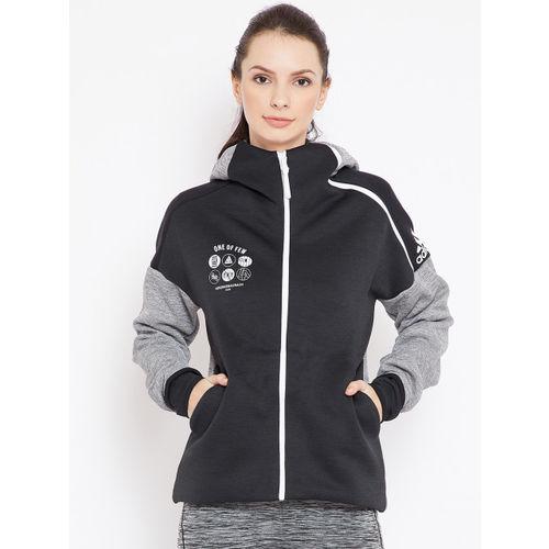 Adidas Women Black & Grey Melange Solid Z.N.E Fast Release Sweatshirt