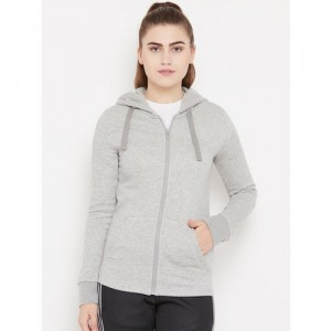 Adidas Women Grey Melange ESS Solid FZ Hooded Training Sweatshirt