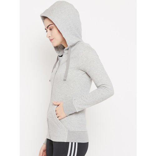 Adidas Women Grey Melange ESS Solid FZ Hooded Training Sweatshirt