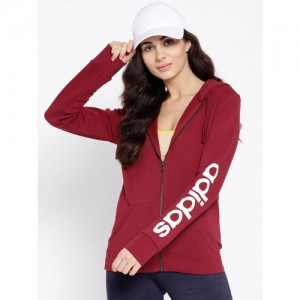 Adidas Women Maroon Solid ESS LIN FZH FL Training Sweatshirt