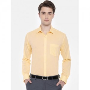 Park Avenue Yellow Slim Fit Solid Formal Shirt
