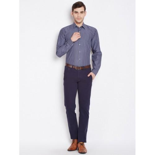 Hancock Blue Slim Fit Striped Formal Shirt