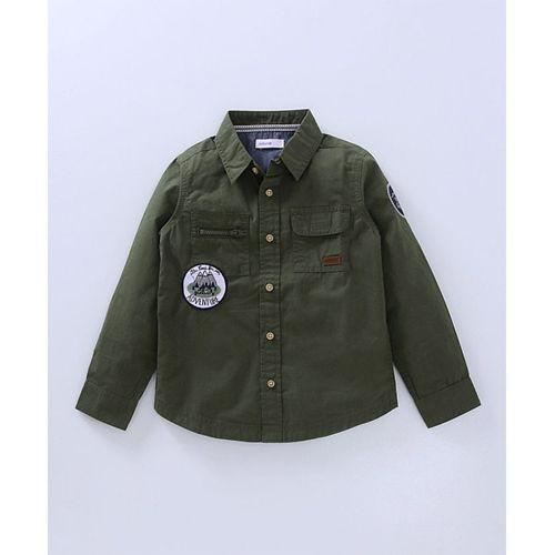 Babyoye  Green Full Sleeves Solid Cargo Shirt