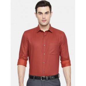 Park Avenue Red Slim Fit Self Design Formal Shirt