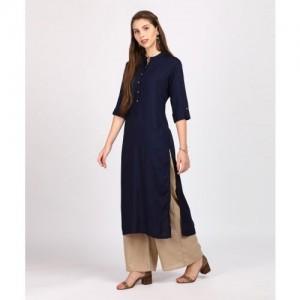 Vishudh Navy blue Rayon Solid Straight Kurta