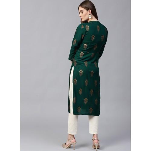 Pannkh Green Viscose Print Straight Kurta