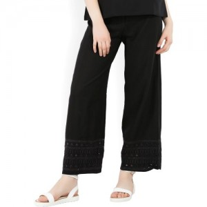 Global Desi Relaxed Women's Black Trousers