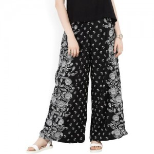 Global Desi Relaxed Women's Black, White Trousers