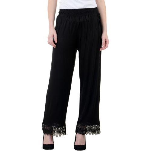 Lesuzaki Regular Fit Women's Black Trousers