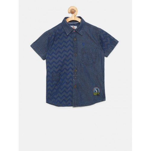UFO Blue Regular Fit Printed Casual Chambray Shirt