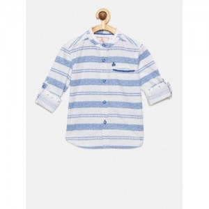 UFO Blue & White Cotton  Regular Fit Striped Casual Shirt
