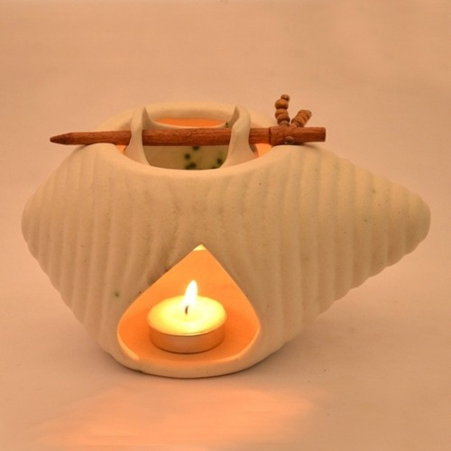 ExclusiveLane Handcrafted Shankh Shaped Ceramic 1 - Cup Tealight Holder