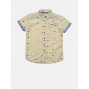 UFO  Yellow & Blue Cotton  Regular Fit Printed Casual Shirt