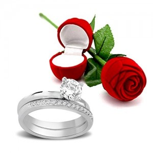 Peora Valentine's Day Gift Hamper of Sterling Silver Ring With Red Rose Gift Box