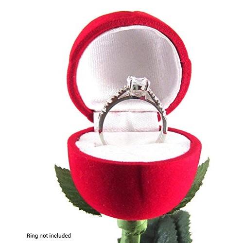 Peora Velvet Red Rose Jewellery Ring Box
