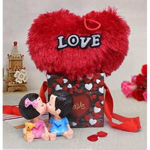 TIED RIBBONS Valentine's Best Gifts for Girlfriend, Boyfriend(Cute Couple Showpiece, Heart Shape Cushion and Gift Box)
