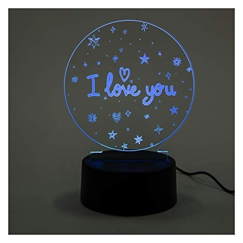Aica Gifts Heart Shape Acrylic 3D LED Illusion USB Light Decorative Lamp