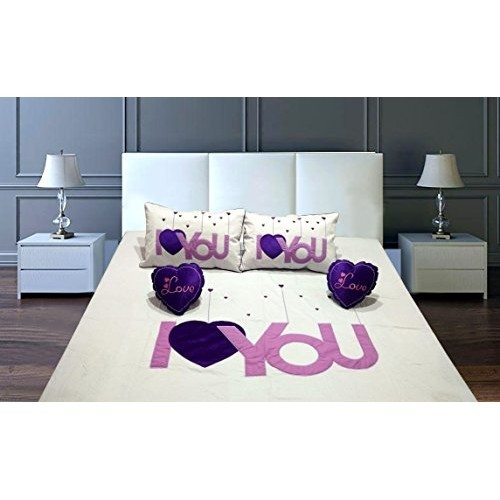 Raedial Arts I Love You Patch Designer Cotton Double Bedsheet for Couples with 2 Pillow Covers and 2 Heart Cushion