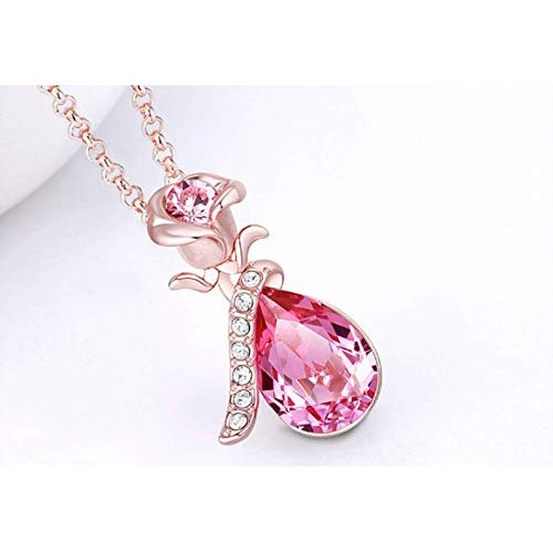 Popmode Rose Pendant with Big Pink Drop Crystal Set for Girls and Women