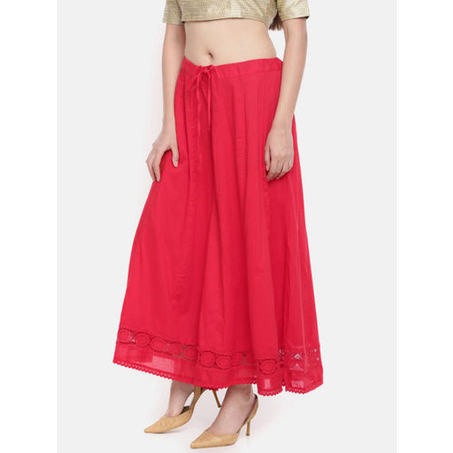 Biba Women Red Flared Hem Design Palazzos