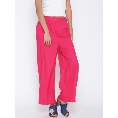 Biba Women Pink Wide Leg Solid Palazzos