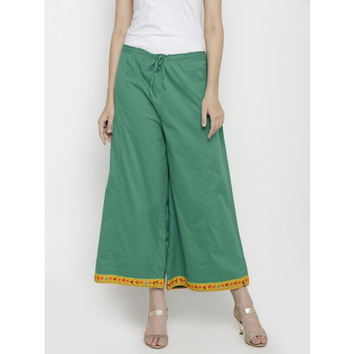 Biba Women Green Solid Flared Cropped Palazzos