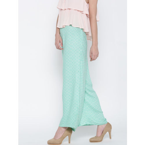 Biba Women Sea Green & Off-White Printed Straight Palazzos