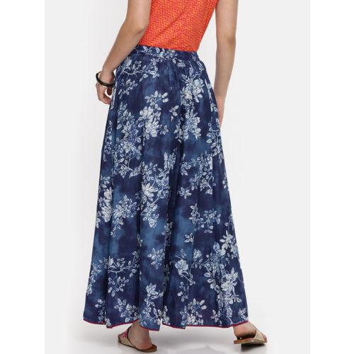 Biba Women Navy Blue & Off White Printed Maxi Skirt