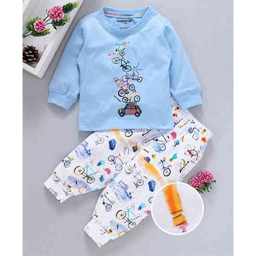 Cucumber Blue Cotton Full Sleeves T-Shirt & Lounge Pant Bicycle Print