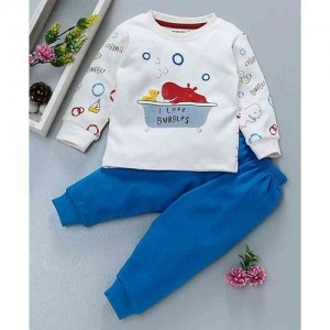 Cucumber Blue & White Full Sleeves Tee With Lounge Pant Hippo Print