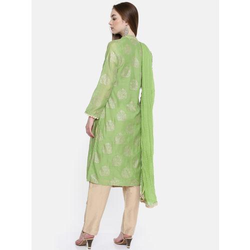 Biba Women Green & Gold-Toned Printed Kurta with Trousers & Dupatta