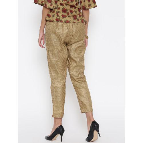 Biba Women Beige Self-Design Trousers
