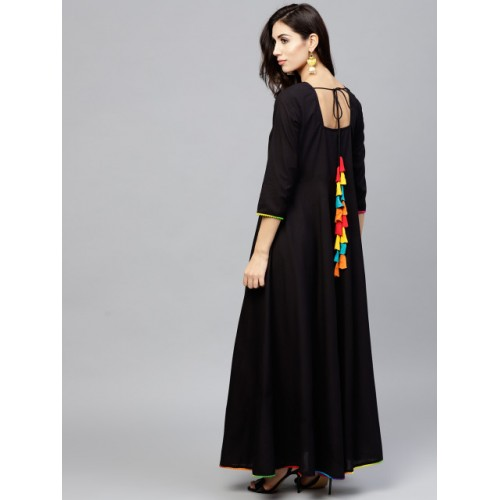 Nayo Black Solid Flared Maxi Dress