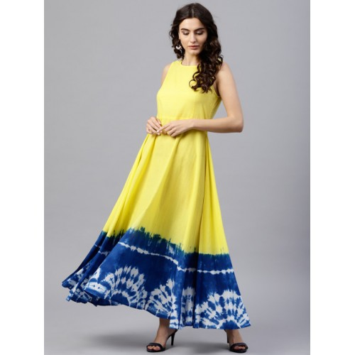Nayo Yellow & Blue Colourblocked Cotton Maxi Kurta with Dyed Effect