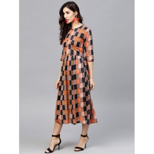 Nayo Brown & Black Checked Midi A-Line Dress