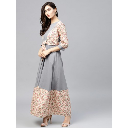 Nayo Grey & Off-White Cotton Printed Maxi Kurta