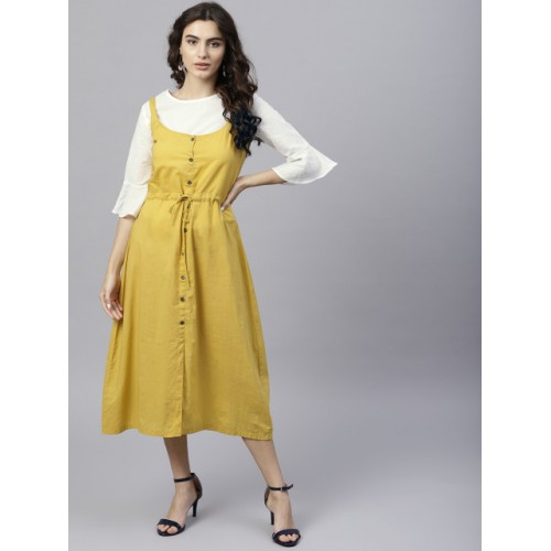 Nayo Mustard Yellow & White Solid A-Line Dress