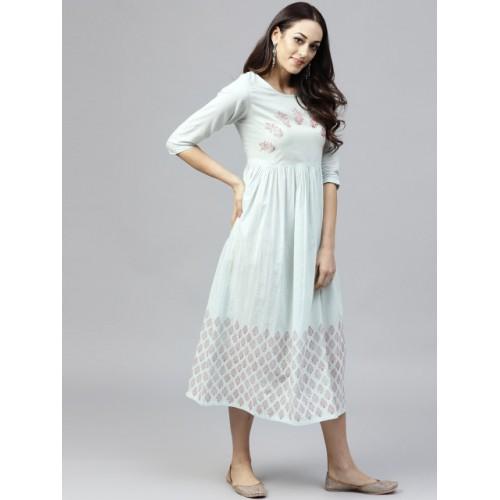 Nayo Blue & Red Block Print A-Line Dress