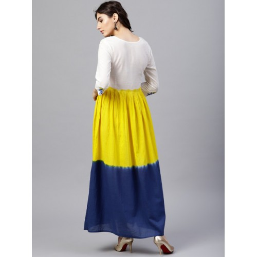Nayo White & Yellow Colourblocked Maxi Dress