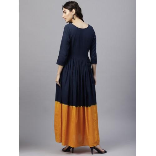 Nayo Navy Blue & Orange Colourblocked Maxi Dress