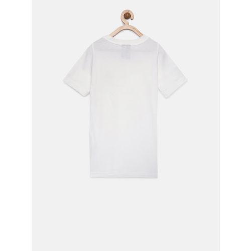 Adidas Boys White Solid Round Neck T-shirt