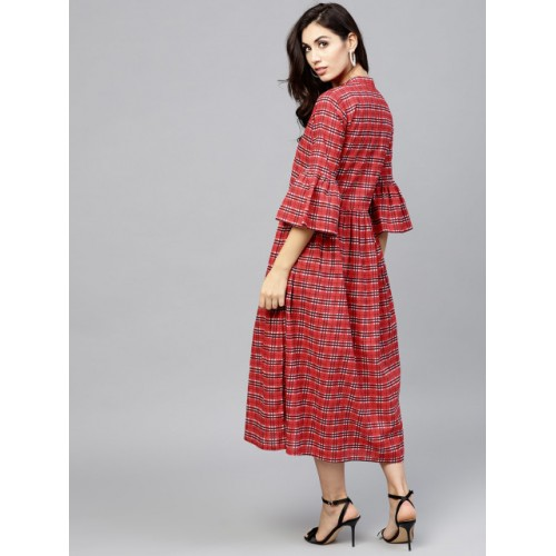 Nayo Red & White Checked A-Line Kurta