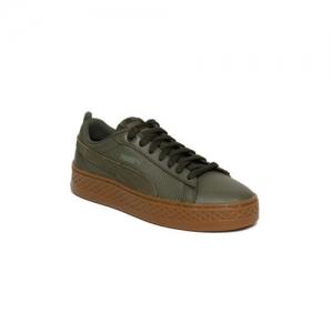 Puma Women Olive Green Smash Platform Leather Sneakers